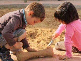 Excavant un  os de dinosaure a Territori Dinópolis - Foto: YouMeKids