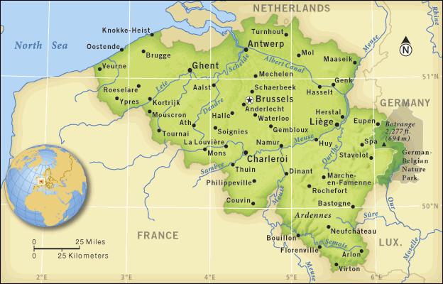 Bèlgica (en verd) - Font: Grolier