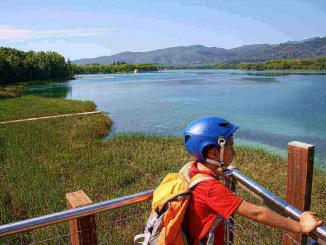 Des de l'àrea de pícnic del parc de la Draga es pot fer la volta en bicicleta a l'Estany de Banyoles - Foto: YouMeKids
